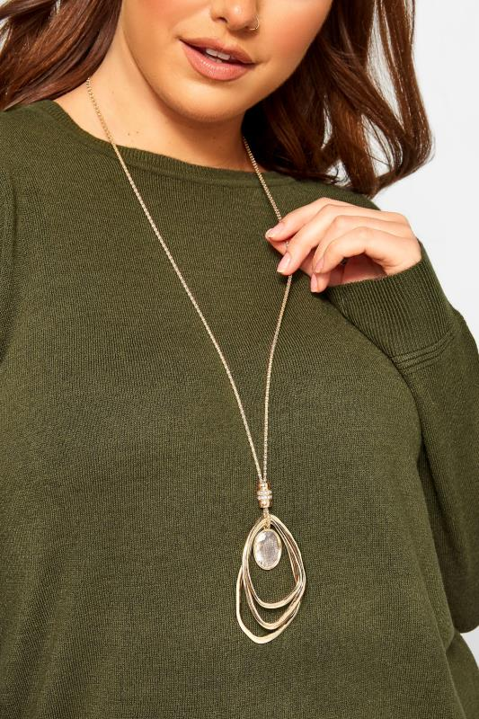 Gold Stone Oval Pendant Necklace