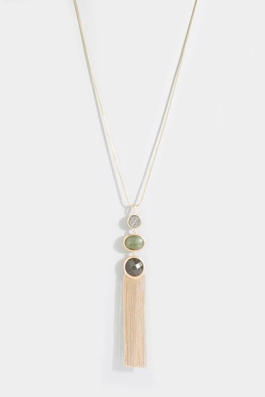 Gold Stone Pendant Necklace