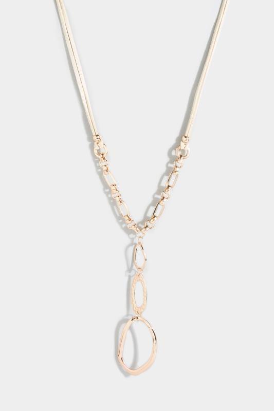 Gold Suede Pendant Necklace