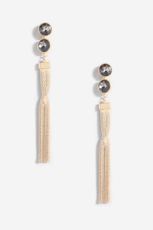 Gold Tassel & Black Bead Earrings