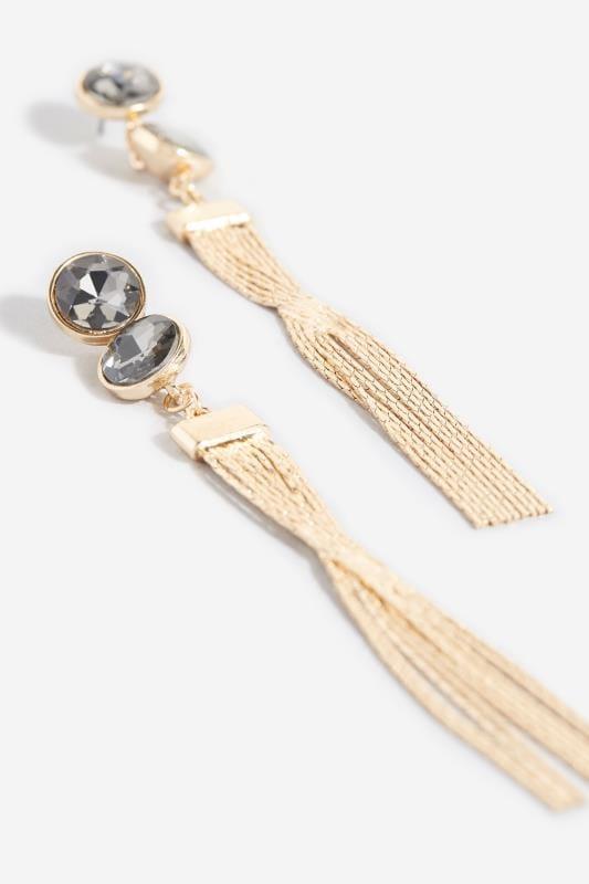 Gold Tassel & Black Bead Earrings