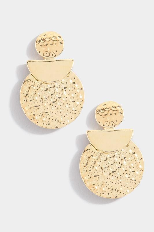Yours Gold Textured Disc Earrings