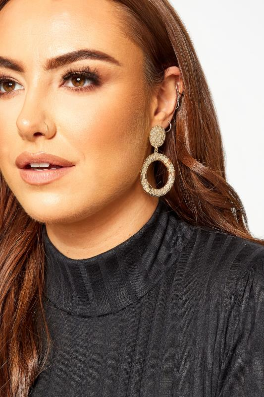 Plus Size Jewellery Gold Textured Drop Circle Earrings