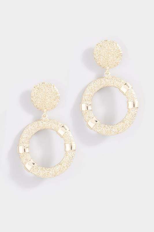 Gold Textured Drop Circle Earrings