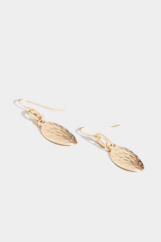 Gold Textured Drop Earrings