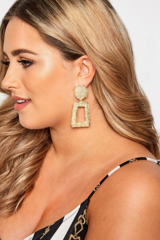 Plus Size Earrings Gold Textured Square Earrings