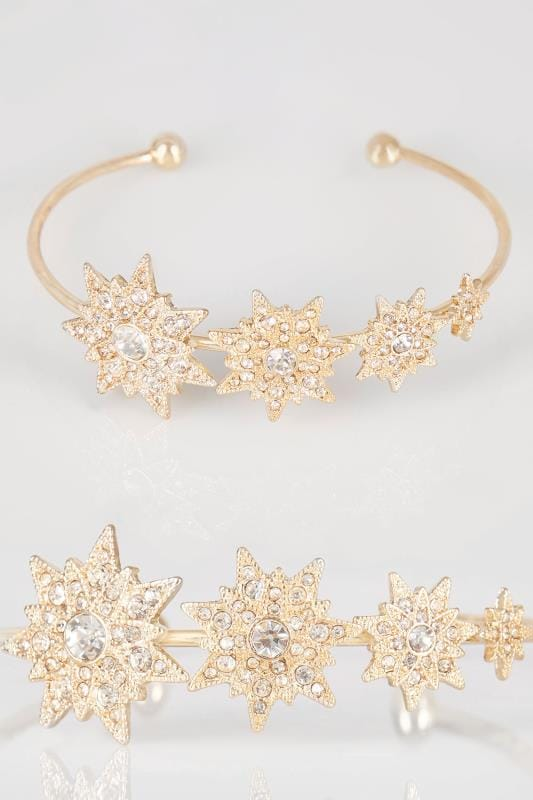 armbanden Gold Tone Diamante Star Charm Bangle