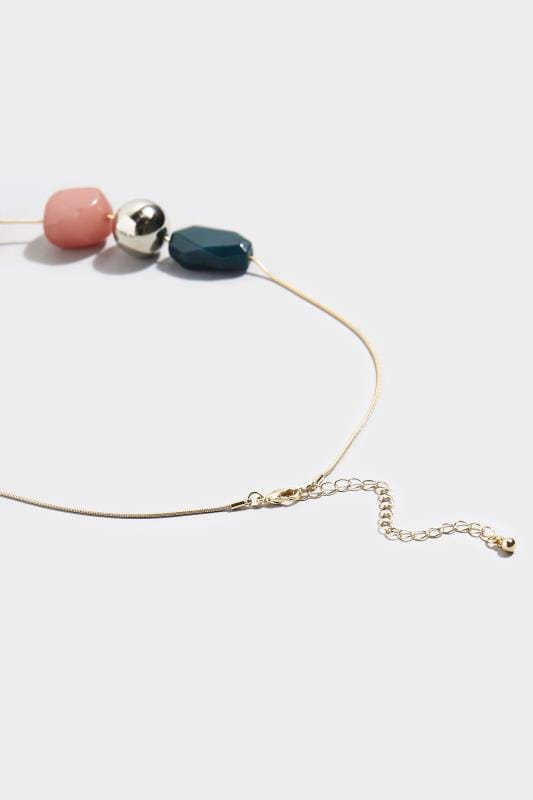 Gold Tone Mixed Bead Necklace