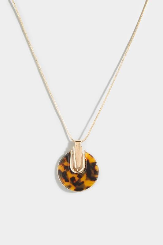Halskette mit rundem Anhänger - Schildpatt