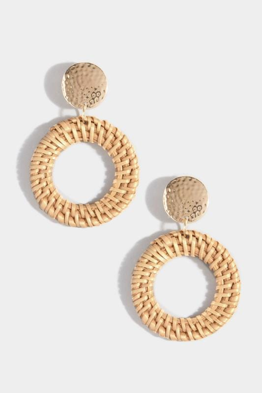 Gold Woven Raffia Hoop Earrings