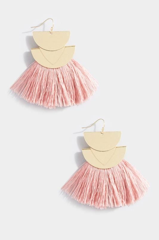 Gold and Pink Tassel Earrings