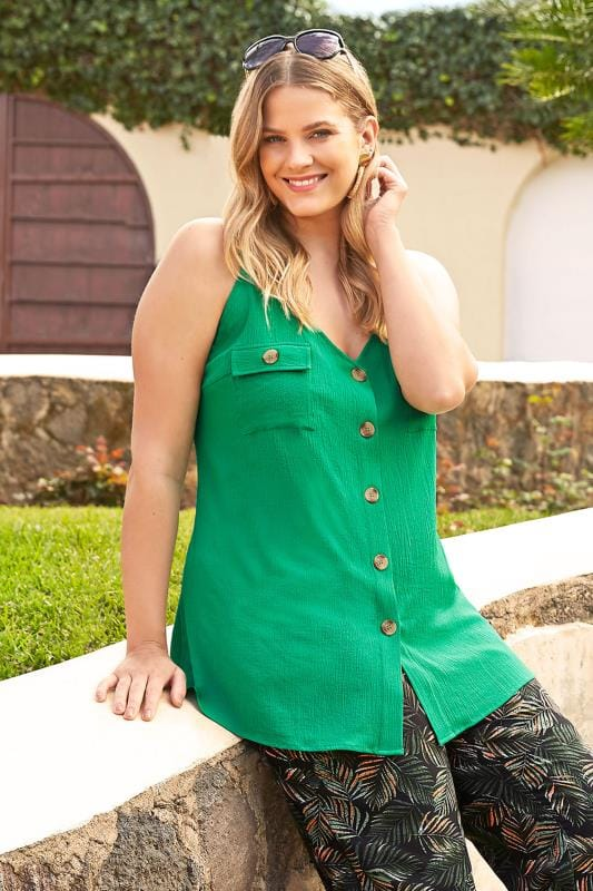 Plus Size Vests & Camis Green Button Through Cami