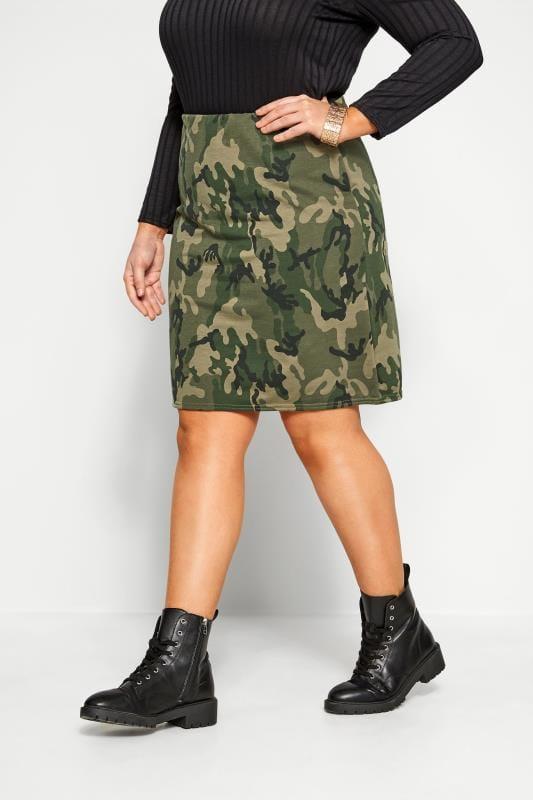 Plus-Größen Pencil Skirts Green Camo Mini Skirt