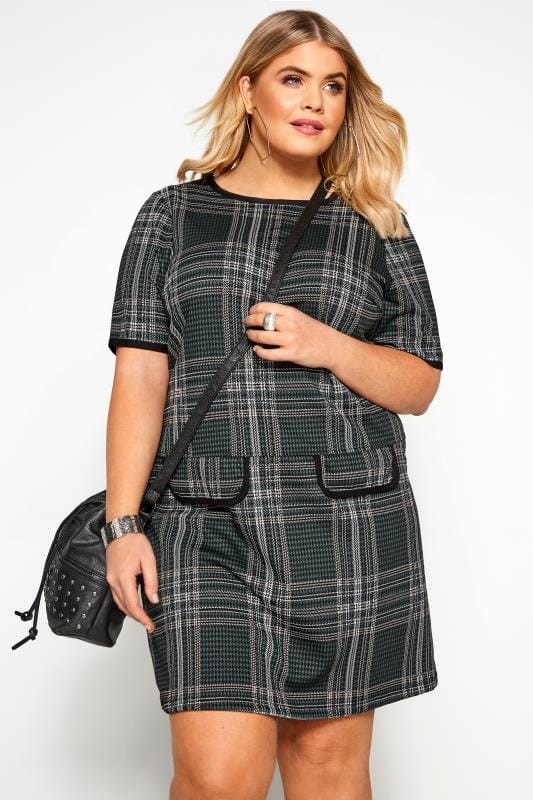 Plus Size Tunics Green Check Tunic
