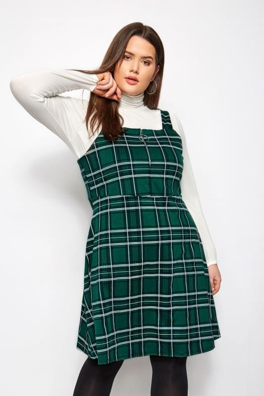 Plus Size Pinafore Dresses Green Check Zip Pinafore Dress
