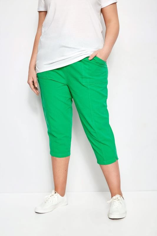 Plus Size Capri Pants Green Cotton Cropped Trousers
