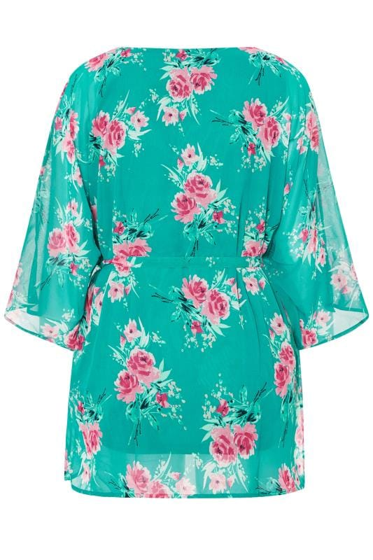YOURS LONDON Turqoise Floral Belted Blouse
