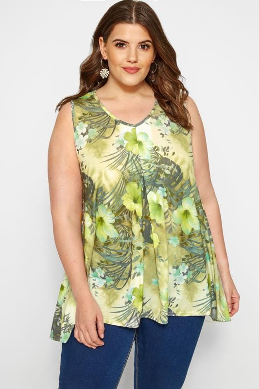 Plus Size Day Tops Green Floral Print Swing Top