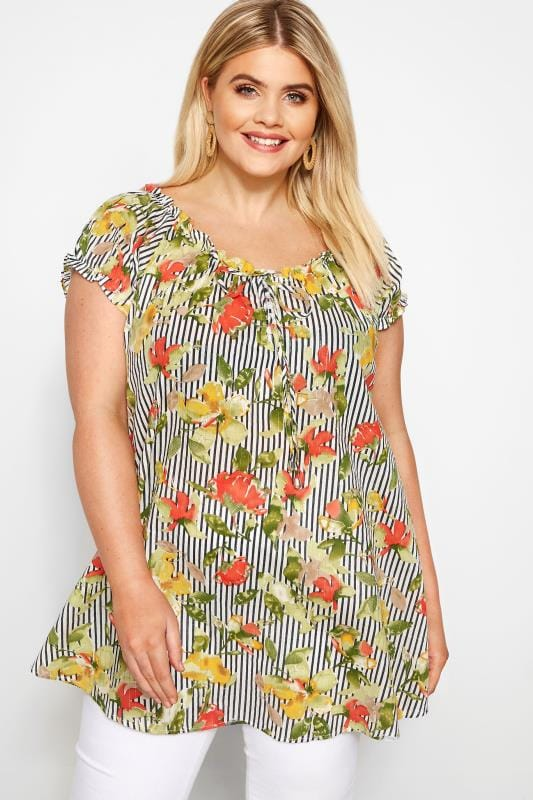 Green Floral Striped Gypsy Top