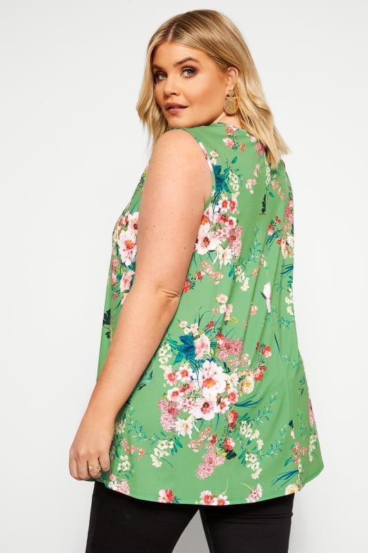 Green Floral Swing Vest Top