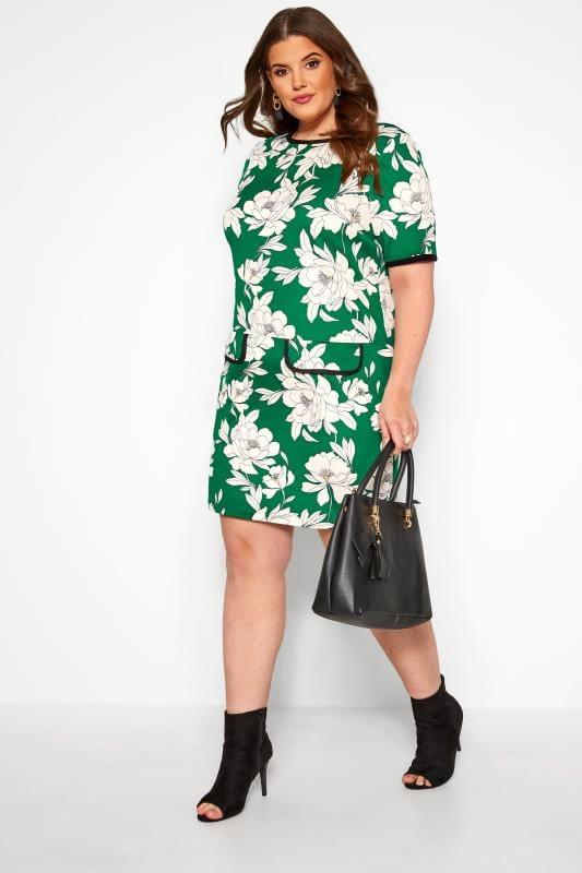 Tunika-Kleid mit Blumen-Muster - Grün/Weiß | Yours Clothing