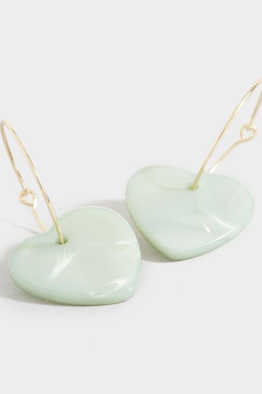 Green Heart Drop Earrings