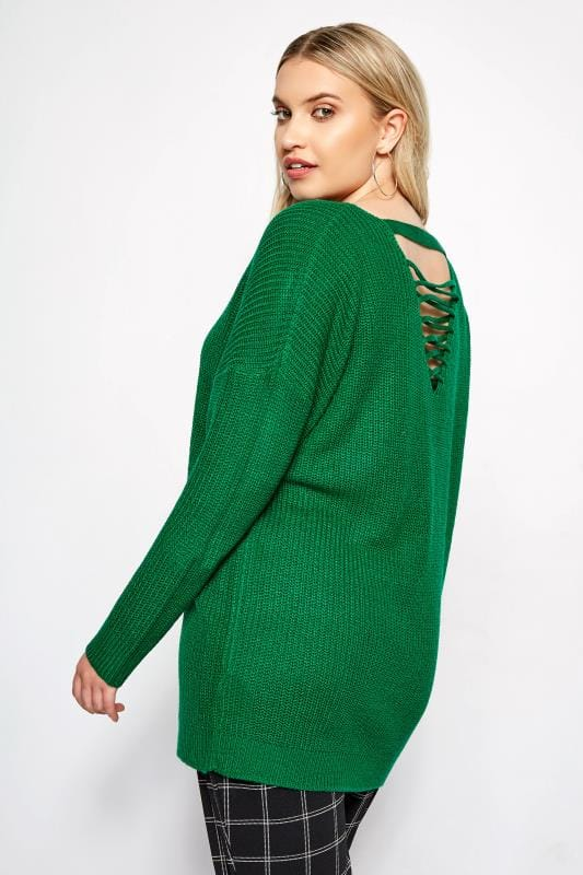 Plus Size Jumpers Green Lattice Back Knitted Jumper