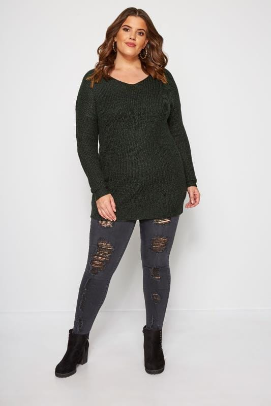 Green Lattice Back Twist Knit Jumper