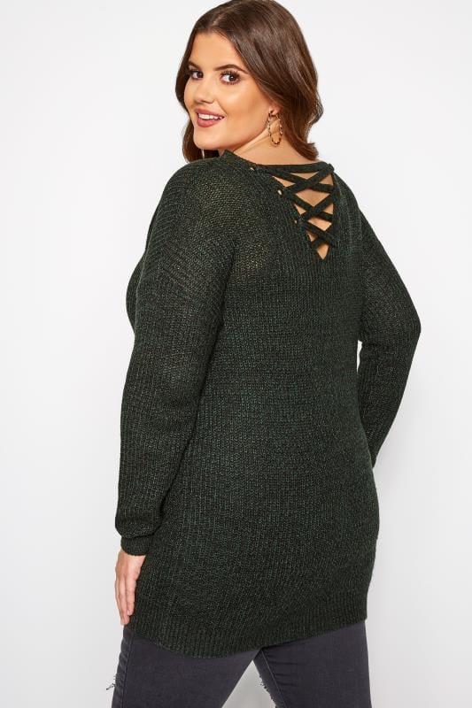 Plus Size Knitted Tops & Jumpers Green Lattice Back Twist Knit Jumper