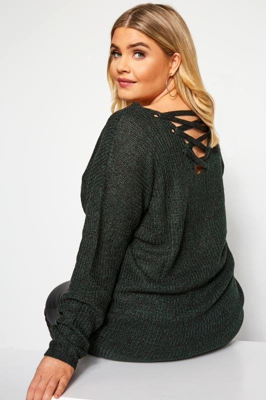 Plus Size Knitted Tops & Jumpers Green Lattice Back Twist Knit Jumper