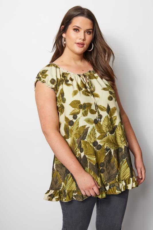 Green Leaf Print Gypsy Top