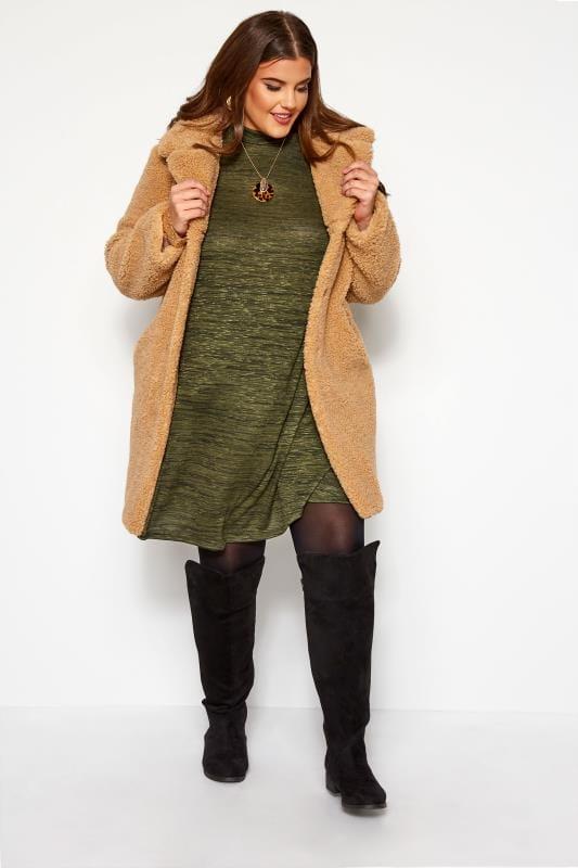 Plus Size Swing Dresses Green Marl Turtle Neck Dress