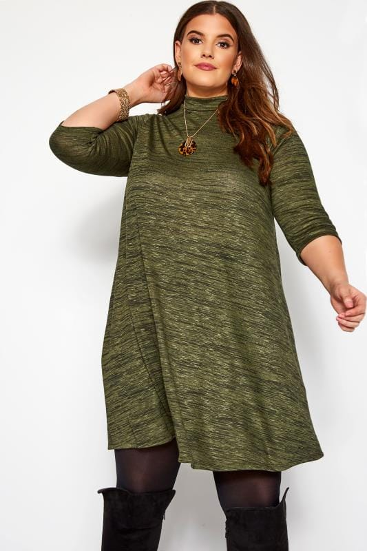 Plus Size Swing Dresses Green Marl Turtle Neck Dress