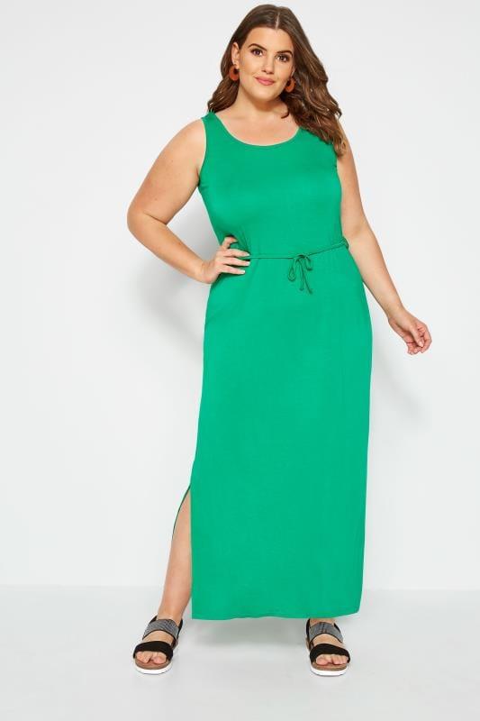 Plus Size Maxi Dresses Green Maxi Dress With Belt