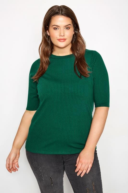 Plus Size Jersey Tops Green Ribbed Top