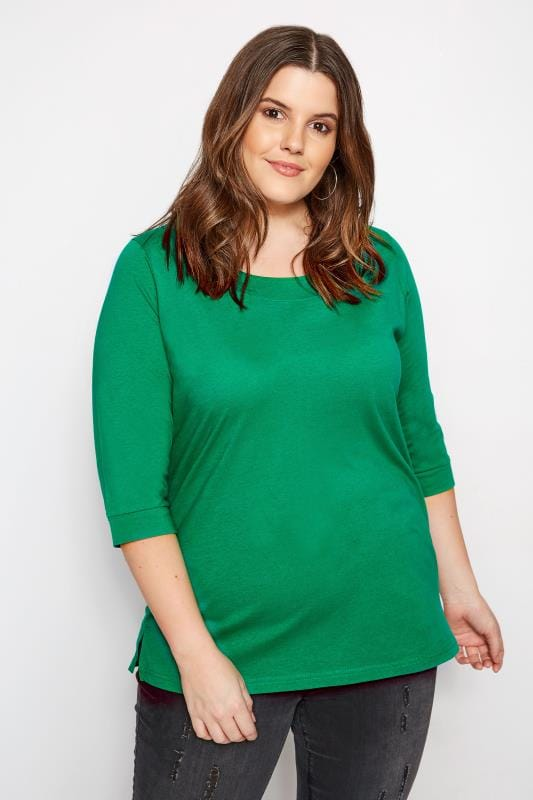 Plus Size Basic T-Shirts & Vests Green Seamed Scoop Neck Top