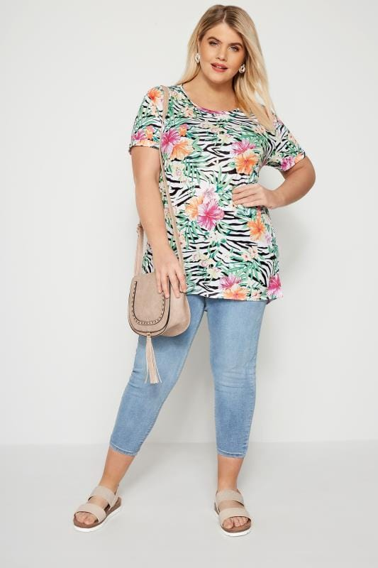 Green Tropical Floral & Zebra Print T-Shirt