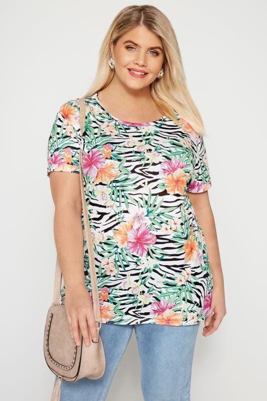 Plus Size Jersey Tops Green Tropical Floral & Zebra Print T-Shirt