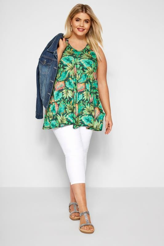 Green Tropical Print Swing Vest Top