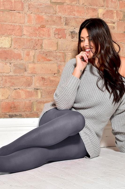 Plus Size Tights Grey 90 Denier Tights