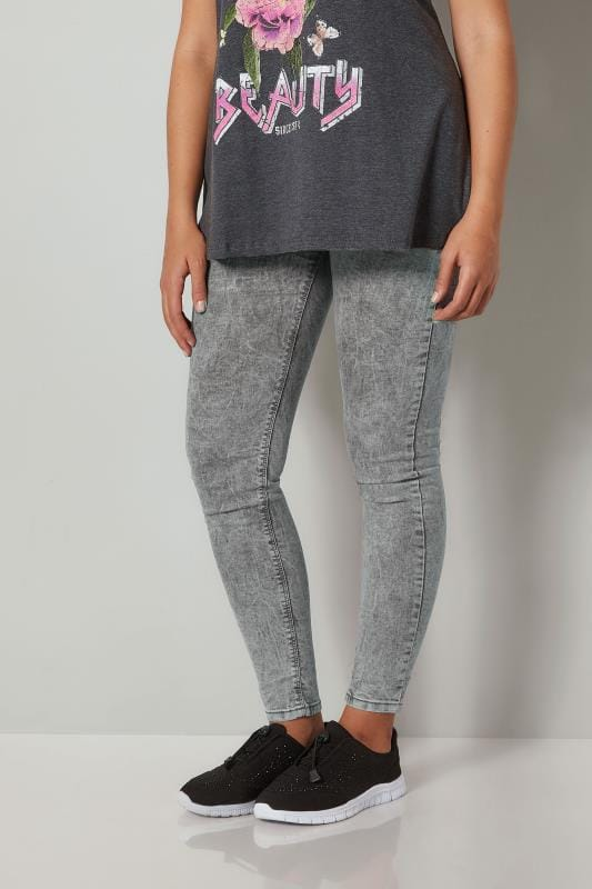 Grey Acid Wash JENNY Jeggings