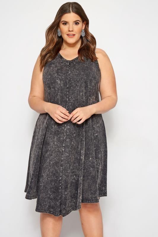 Plus Size Swing Dresses Grey Acid Wash Swing Dress