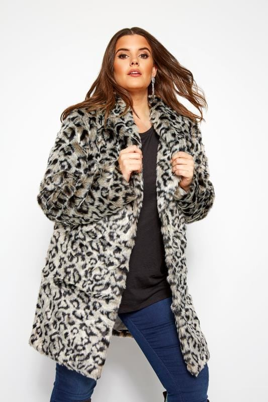 Plus Size Faux Fur Coats Grey Animal Faux Fur Coat