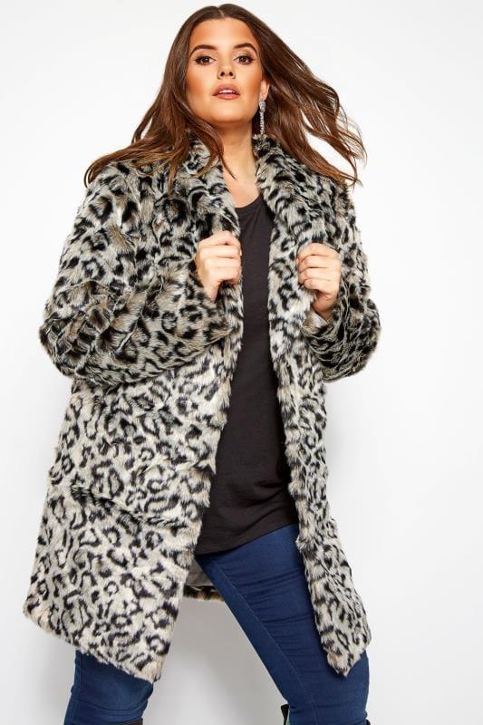 Große Größen Fellimitat Jacken Kunstpelz-Mantel im Animal-Muster - Grau