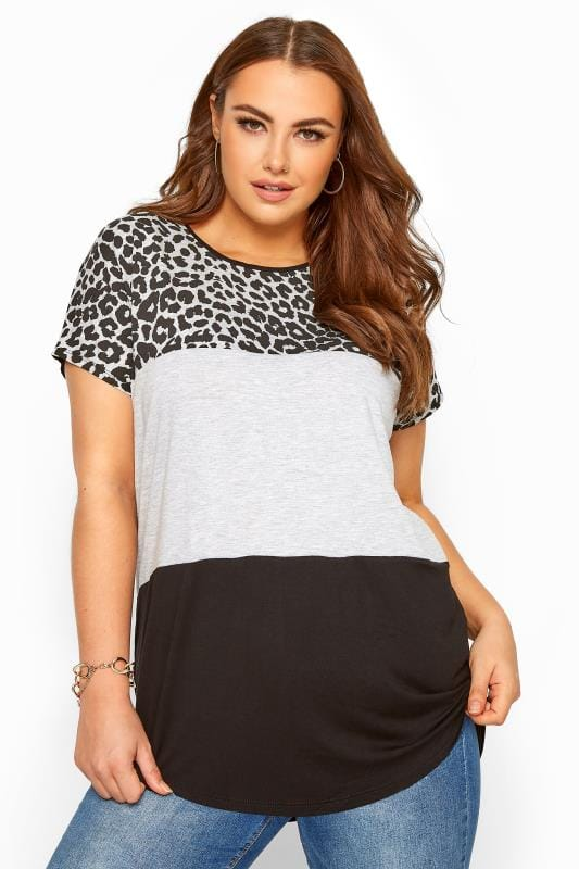 Plus Size Jersey Tops Grey Animal Print Colour Block Top