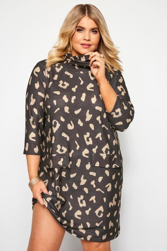 Grey Animal Print Mocket Pocket Tunic Dress