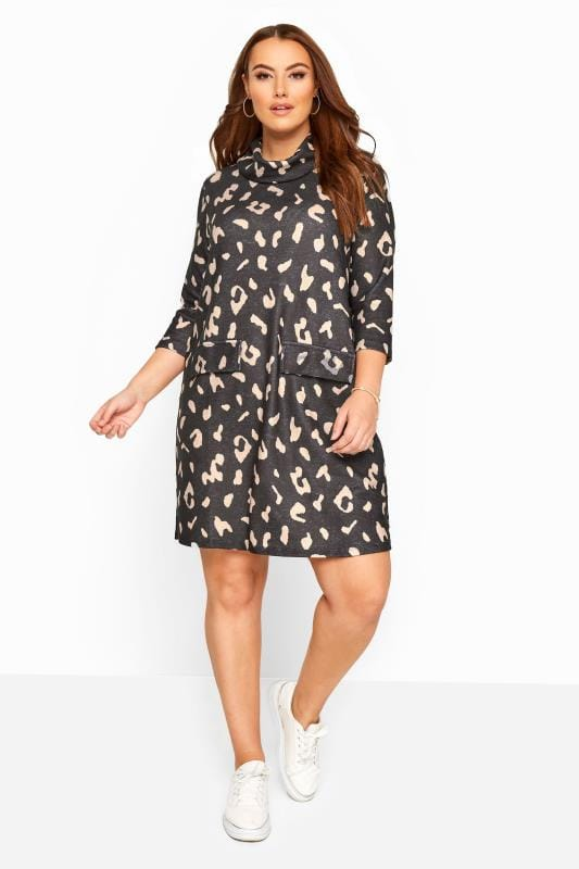 Grey Animal Print Mocket Pocket Tunic Dress