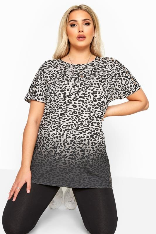 Grey Animal Print Ombre Laser Cut Top