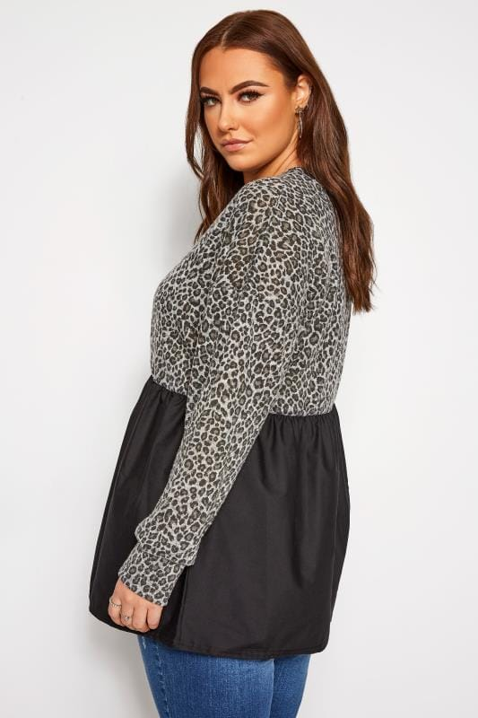 Grey Animal Print Peplum Sweatshirt
