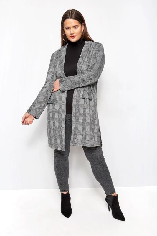 Grey & Black Dogtooth Check Longline Jacket